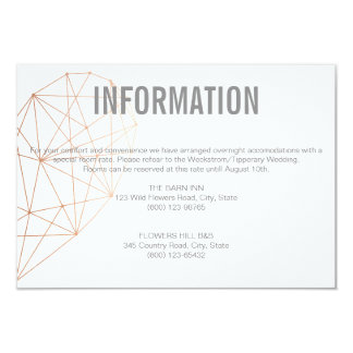 INFORMATION  enclosure card | Rose Gold heart 9 Cm X 13 Cm Invitation Card