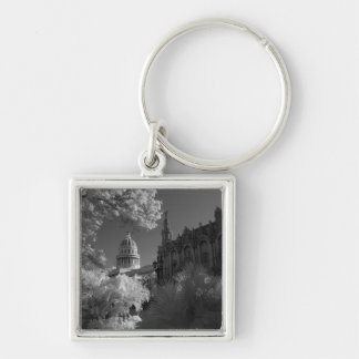 Infra red of Capitol building dome in Havana Silver-Colored Square Key Ring