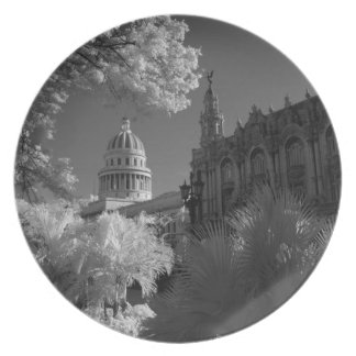 Infra red of Capitol building dome in Havana Plate