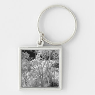Infra red of trees buildings and trails in Las 2 Silver-Colored Square Key Ring