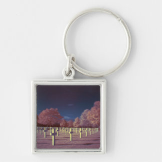 Infrared American Cemetery Crosses Silver-Colored Square Key Ring