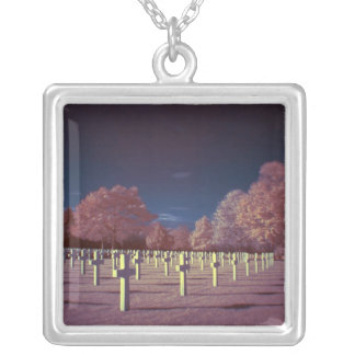 Infrared American Cemetery Crosses Silver Plated Necklace