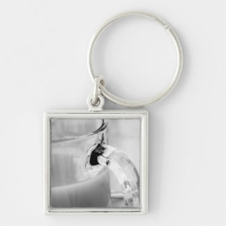 Infrared, Black & White,cup, glass, coffee, Silver-Colored Square Key Ring