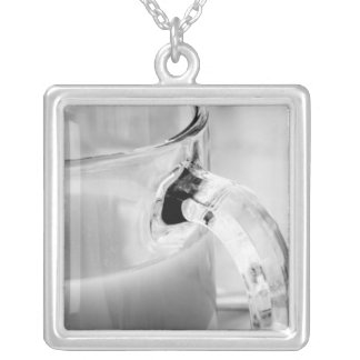 Infrared, Black & White,cup, glass, coffee, Silver Plated Necklace