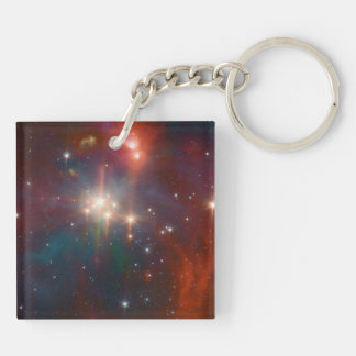 Infrared Coronet Double-Sided Square Acrylic Key Ring