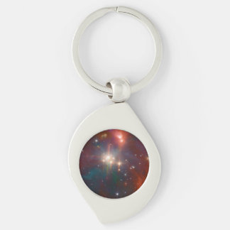 Infrared Coronet Silver-Colored Swirl Key Ring
