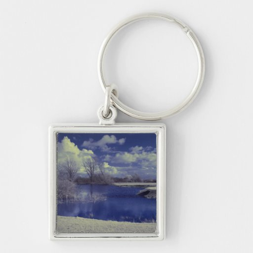 Infrared landscape in blue with lake key chains
