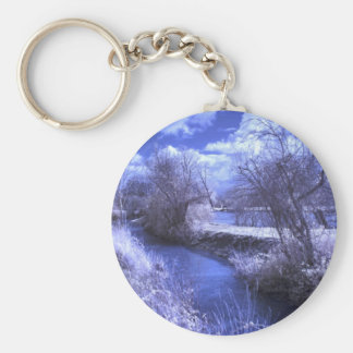 Infrared landscape with stream in blue key chain