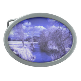 Infrared landscape with stream oval belt buckle
