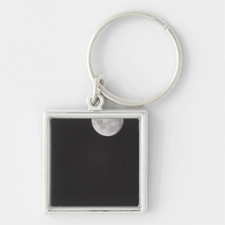 Infrared moon. Silver-Colored square key ring