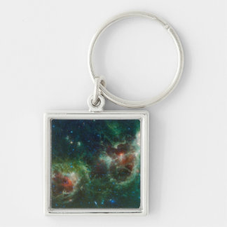 Infrared mosaic of the Heart and Soul nebulae Silver-Colored Square Key Ring