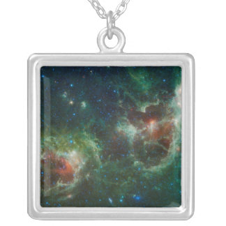 Infrared mosaic of the Heart and Soul nebulae Silver Plated Necklace