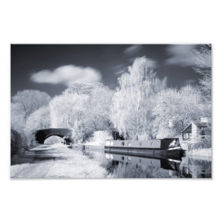 Infrared Narrowboat Moored on Oxford Canal Print Photo Art