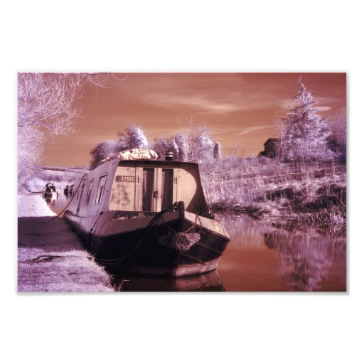 Infrared Photograph of a Narrowboat, Print