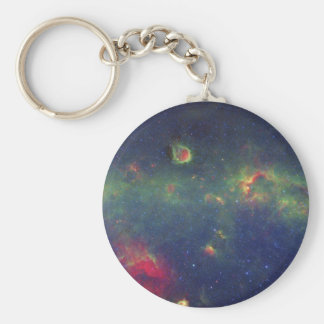 Infrared Portrait of the Inner Milky Way Galaxy Basic Round Button Key Ring