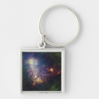 Infrared portrait revealing the stars and dust Silver-Colored square key ring