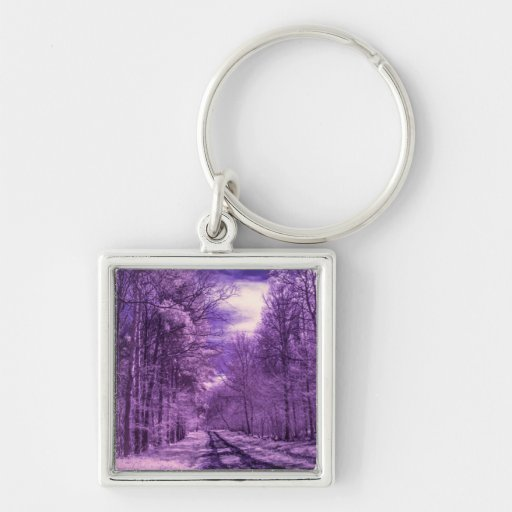 Infrared track through the woods key chains