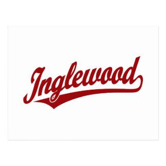 Inglewood script logo in red postcard