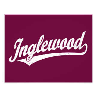 Inglewood script logo in white distressed flyer
