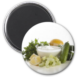 Ingredients for Fresh Cucumber Yogurt Soup 6 Cm Round Magnet