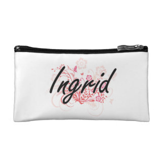 Ingrid Artistic Name Design with Flowers Cosmetic Bag