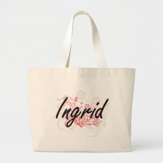Ingrid Artistic Name Design with Flowers Jumbo Tote Bag