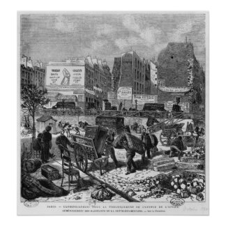 Inhabitants moving from the Butte des Moulins Poster