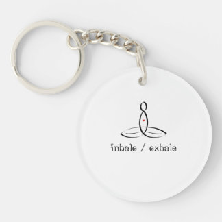 Inhale Exhale - Black Fancy style Key Ring