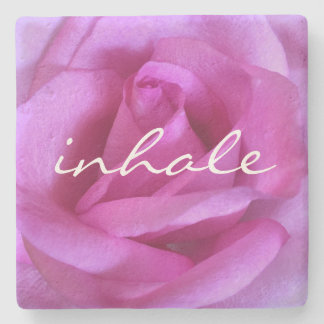 """Inhale"" Quote Hot Purple Pink Rose Close-up Photo Stone Coaster"