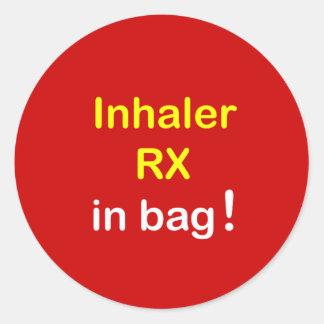 INHALER in Bag. Round Sticker