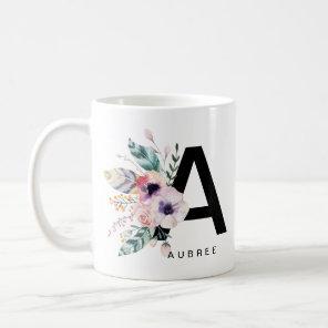Initial A Alphabet Mug Monogram Boho Watercolour