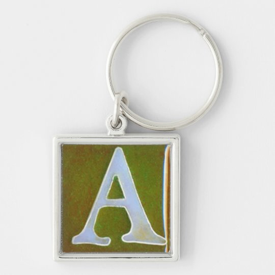 initial A keychain, opalescent white and green Silver-Colored Square Key Ring