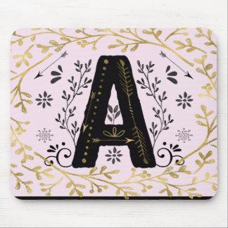 Initial A Mousepad Gold black & pink floral design