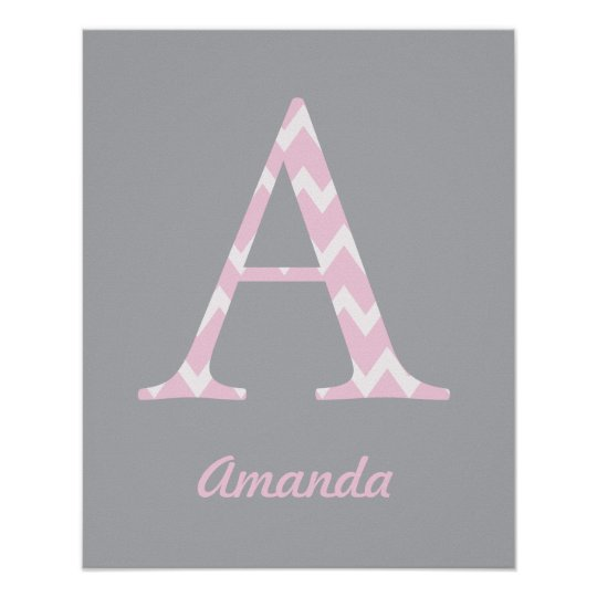 "Initial ""A"" Personalised Chevron Pink Baby Name Poster"