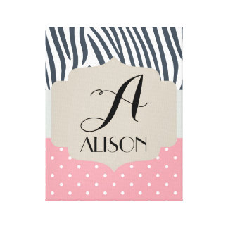 Initial and Name Zebra Polka Dot Pink Canvas Print