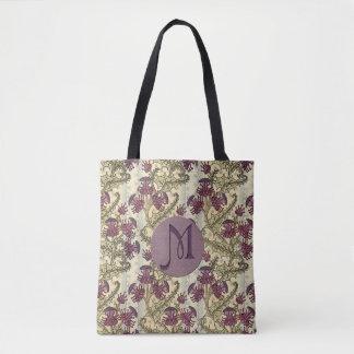 Initial Art Nouveau Purple Thistle Flower Tote Bag