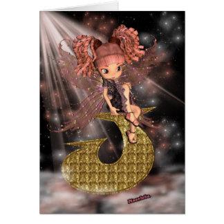 Initial Birthday Card J, Cute little fairy