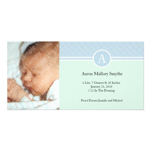 Initial Blue Green Boy New Baby Birth Photo Cards