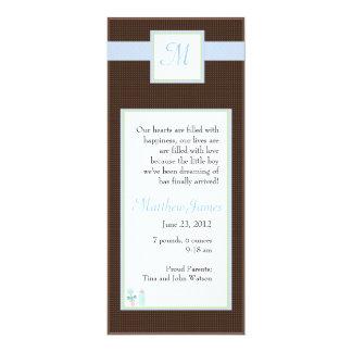 """Initial Blue Invite 4"""" X 9.25"""" Invitation Card"""