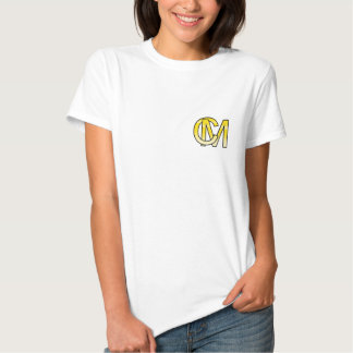 initial C and M out of gold T-shirt