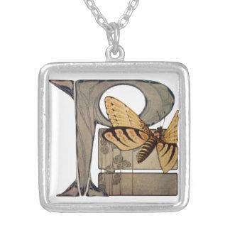 Initial Cap Letter P Vintage Bug Square Pendant Necklace