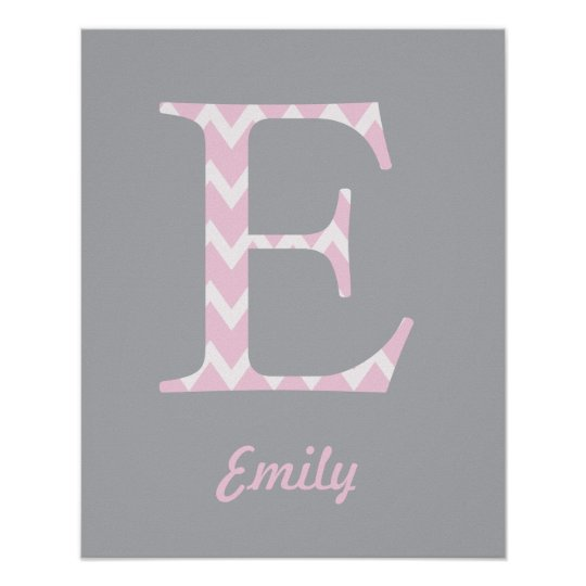 "Initial ""E"" Personalised Chevron Pink Name Poster"