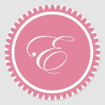 Initial E princess pink monogram seal party favour Round Stickers