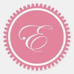 Initial E princess pink monogram seal party favour Sticker