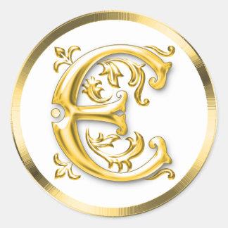 Initial E Round Sticker in Gold
