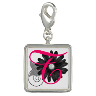 Initial & Flower Keychain Photo Charms