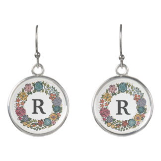 Initial Flower Wreath drop earrings