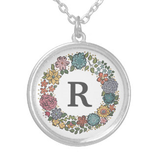 Initial Flower Wreath necklace