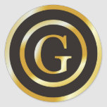 Initial G Gold Monogram Wedding  Stickers