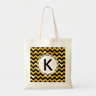 Initial Glitter Golden and Black Chevron